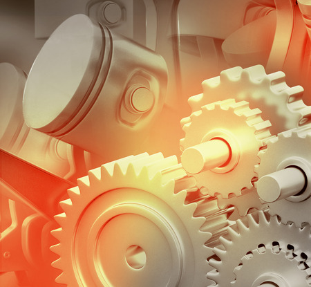 motor car: 3d engine pistons and cog wheels background Stock Photo