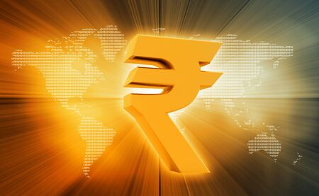 currencies: Indian Rupee icon on abstract background