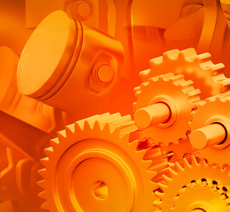 horsepower: 3d engine pistons and cog wheels background Stock Photo