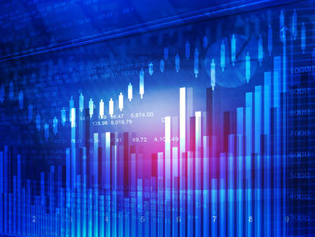 price gain: Stock market chart. Financial background Stock Photo