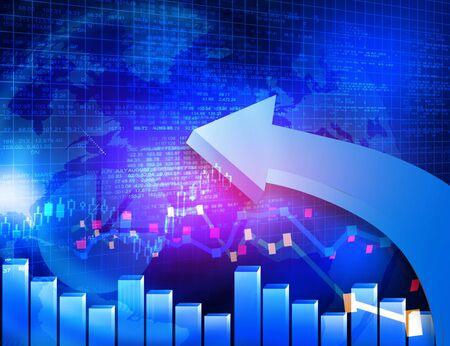 nasdaq: Moving arrows show Stock market chart growth