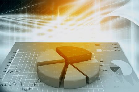 abstract business: 3d business graph with pie on abstract background