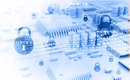 사이버 보안 개념, 닫힌 된 자물쇠와 회로 보드