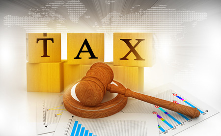 taxes: Tax with a gavel. tax court judgments Stock Photo
