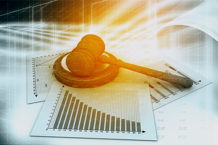 to sue: Business chart with judges court gavel Stock Photo
