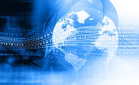디지털 지구. 하이테크 기술 배경 스톡 콘텐츠
