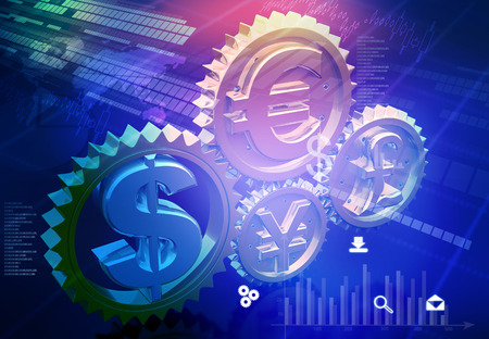 Currency symbols in gear mechanism. Financial background