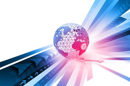 pent: Globe with key on abstract background Stock Photo