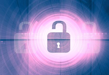 spy ware: Internet security. unlock security locks on digital tech background Stock Photo