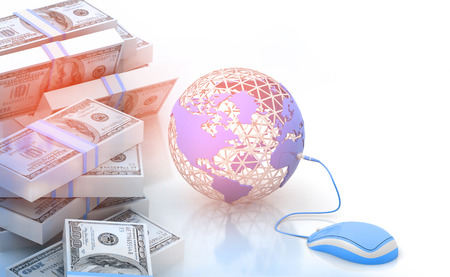 making earth: Earth and mouse with dollar. Make money online. Stock Photo