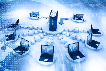 Red de ordenadores y el concepto de comunicación de internet.