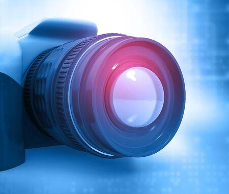 digital background: Digital camera. Abstract blue background