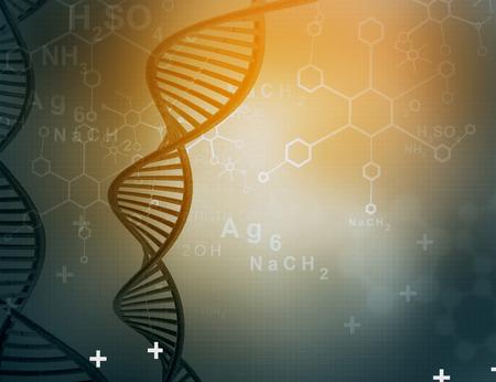 genomes: DNA molecules on blue background