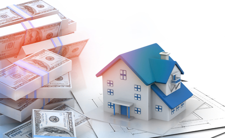 refinance: Stack of dollar notes with beautiful house Stock Photo