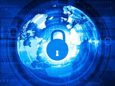 lock  futuristic: Global internet security concept