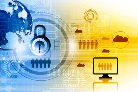 Internet security. Pad lock on digital tech background 写真素材