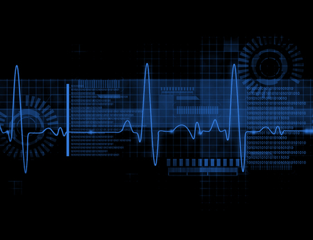 taking pulse: ECG Electrocardiography, medical and healthcare background Stock Photo