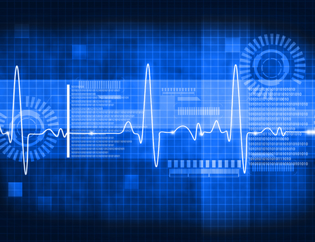 heart ekg trace: ECG Electrocardiography, medical and healthcare background Stock Photo