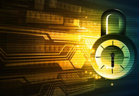 Internet security. Pad lock on digital tech background Stock Photo