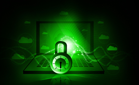 Internet security. Pad lock on digital tech background Stock Photo