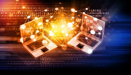 red informatica: La red de ordenadores e internet concepto de comunicación Foto de archivo