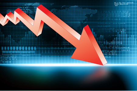 stock predictions: 3d illustration of Arrow Graph showing business decline