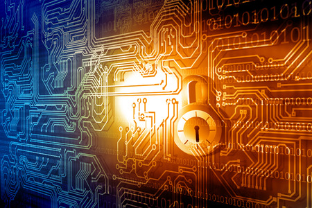 closed circuit: Internet security concept. Closed padlock on circuit board background