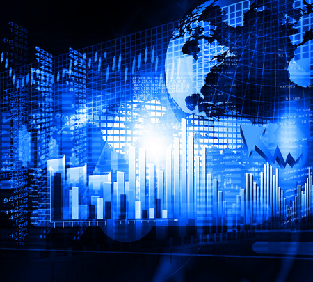 nasdaq: Financial chart and graphs background.