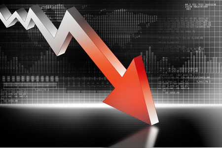 decline: 3d illustration of Arrow Graph showing business decline