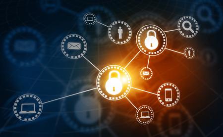 Internet security. Pad lock on digital tech background Imagens
