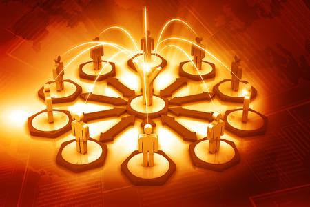 teamwork business: Team leader Teamwork. Business network. 3d render. Stock Photo