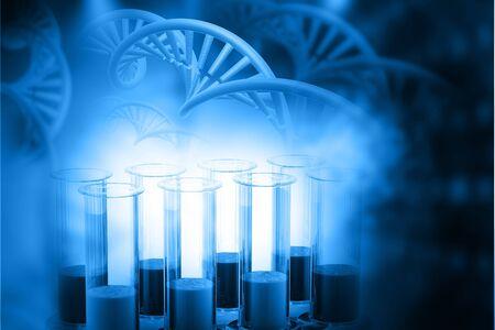 genomes: Lab, chemistry, DNA structure, on blue background. 3d illustration biochemistry concept