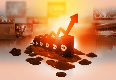 Increasing oil price , high price of oil, 3d render, growing arrow graph