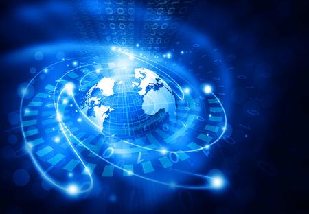 Global technology concept. 3d illustration of Digital world