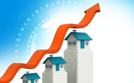 real estate growth: Arrow graph show real estate growth