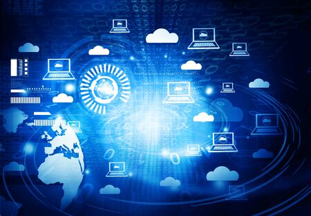 cloud technology: Cloud networking. 3d illustration of technology background