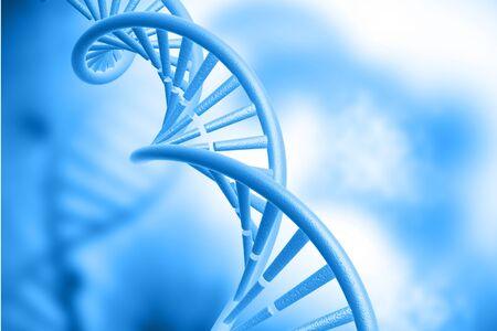 genomes: DNA structure on blue background. 3d illustration biochemistry concept