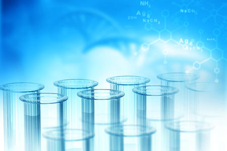 Lab, chemistry, DNA structure, on blue background. 3d illustration biochemistry concept