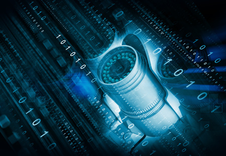 criminality: 3d render of surveillance camera with binary streams. Technology background image