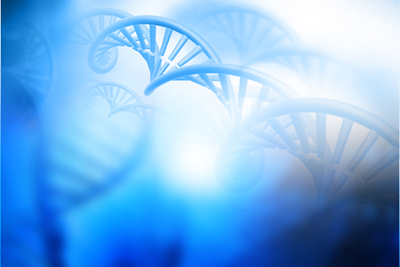 DNA structure on blue background. 3d illustration biochemistry concept