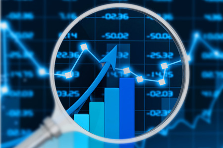 capital gains: Stock market chart. 3d render