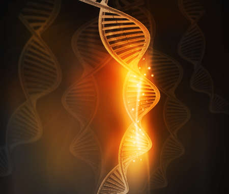 genomes: DNA molecules on abstract background. 3d illustration