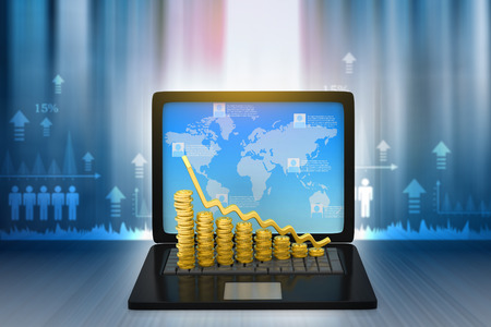 financial growth: Financial graphs with laptop show business growth. 3d render