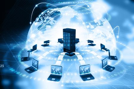 파일 공유 개념, 디지털 배경에서 전송하는 데이터입니다. 3 차원 렌더링 스톡 콘텐츠