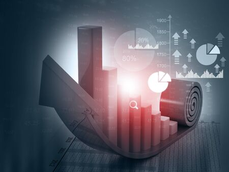 investor: 3d Business growth chart. financial charts on abstract business background Stock Photo