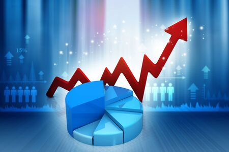 financial growth: Financial graphs and charts show business growth, background image. 3d render Stock Photo