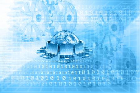 tecnología informatica: Tecnología de redes informáticas. 3d ilustración