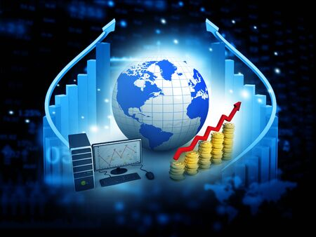 financial growth: 3d Business growth chart. Global financial charts on abstract business background