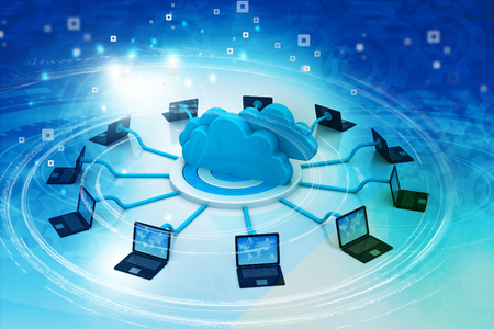 Cloud computing technology. 3d illustration