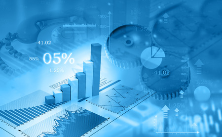 Business graph and charts. 3d illustration Imagens